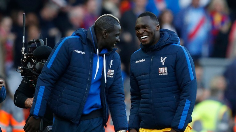 Crystal Palace's Christian Benteke and Mamadou Sakho celebrate after the match