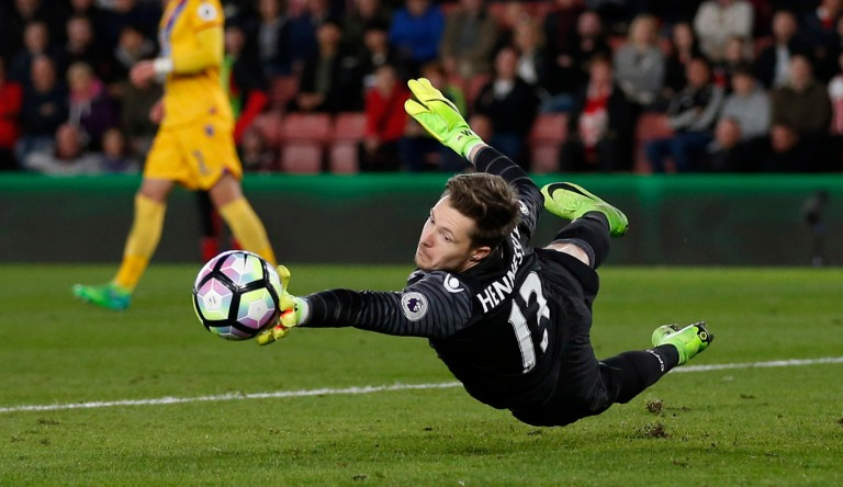 Crystal Palace's Wayne Hennessey makes a save